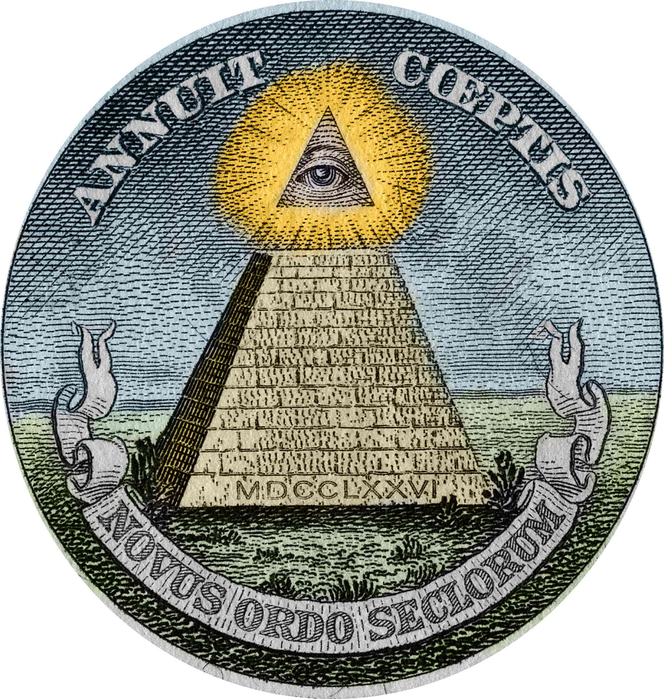 The pyramid and the all-seeing eye, symbols used in the Great Seal of the United States