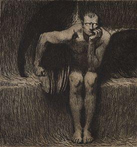 Illustration of Lucifer sitting by Franz von Stuck