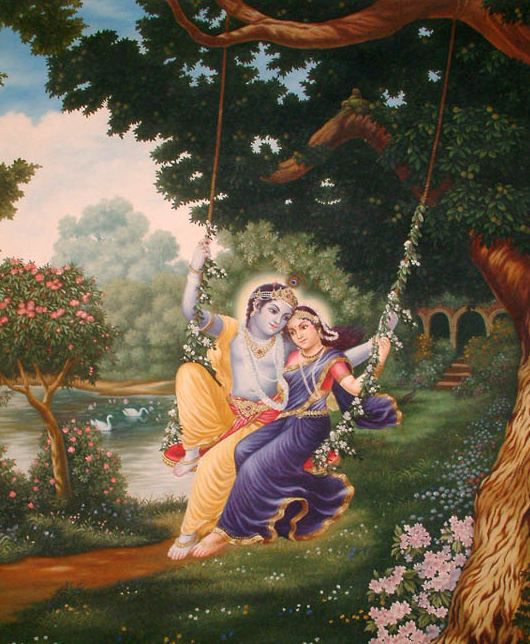 Krishna and Radha sharing a swing.