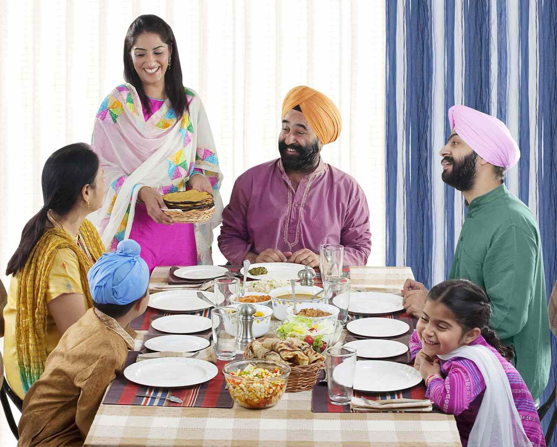 Sikh Family Having Lunch