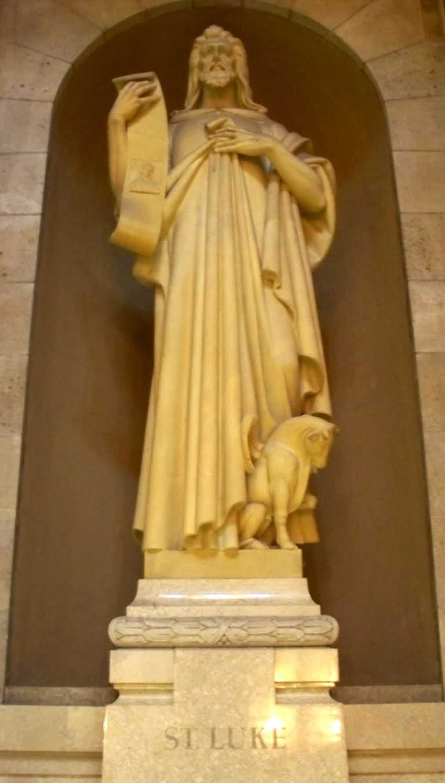 Statue of St. Luke, National Shrine of the Apostle Paul, Saint Paul, MN. (Photo © Scott P. Richert)