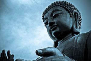 Close-up of giant Buddha in Ngong Ping village, Hong Kong.