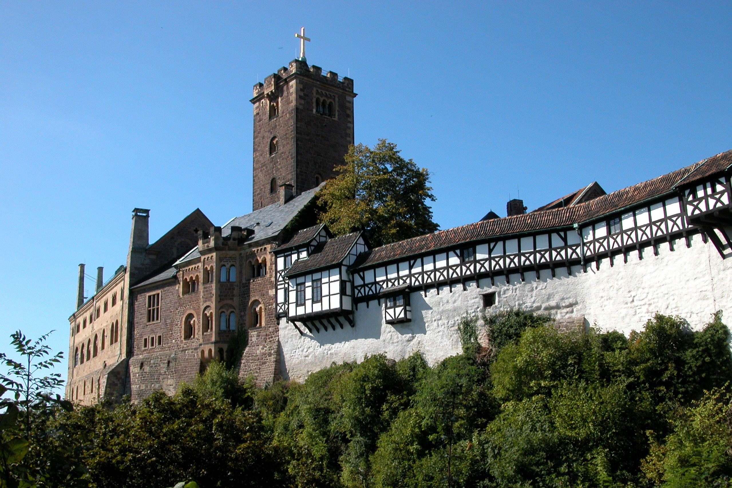 A sunny day at Wartburg Castle, where exiled Martin Luther translated the New Testament into German