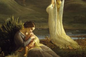 Painting of Angel and mother by Louis Janmot