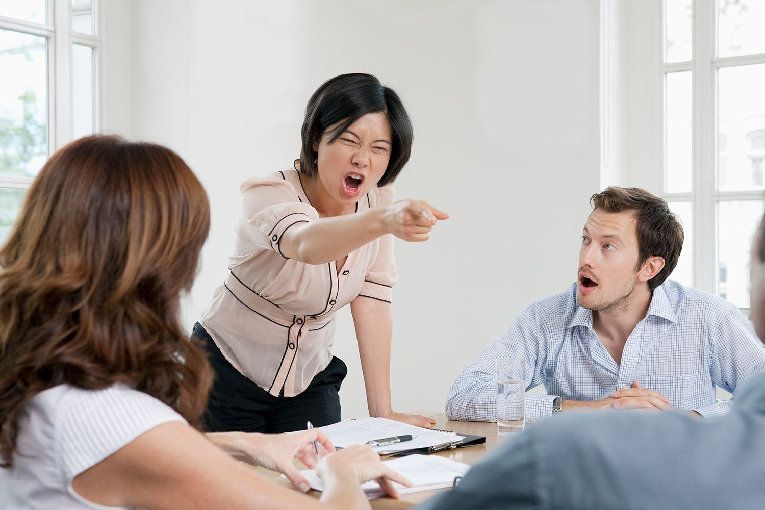 Female shouting in a meeting
