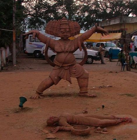 Small huts and sculptures at Parnasala that depict the scene of Sita being kidnapped by Ravana