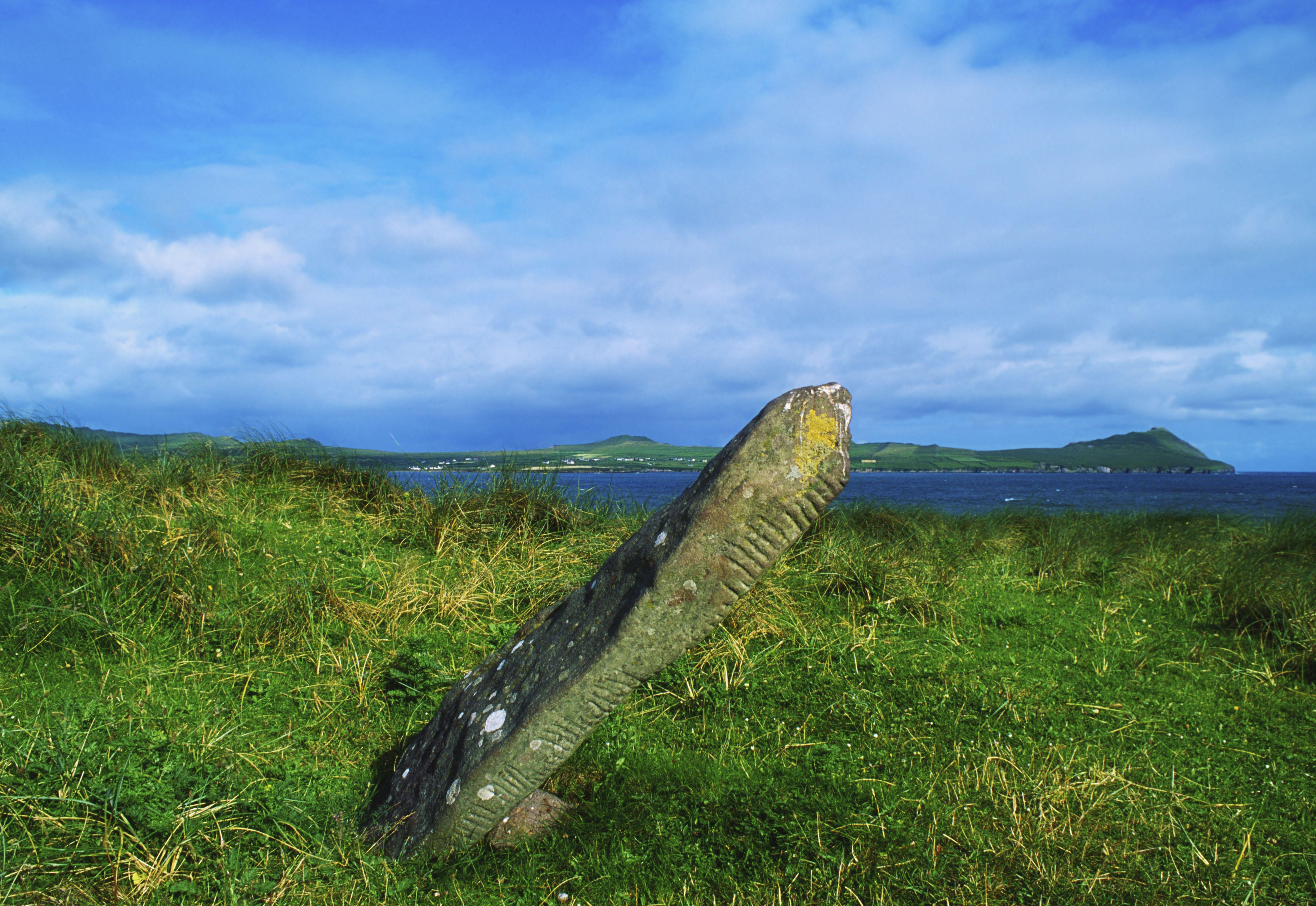 Ogham Stone, standing stone, Dingle, Co Kerry, Ireland