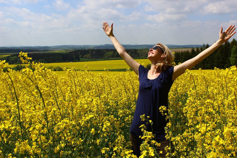 Woman with arms raised in a field of yellow flowers on a sunny day.