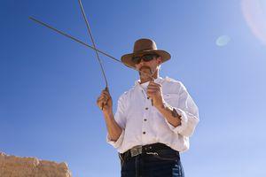Man using dowsing rods