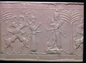 Seal showing the goddess Ishtar, Neo-Assyrian, c720-c700 BC.