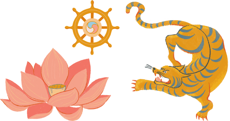 Tiger, lotus flower, and the dharma wheel