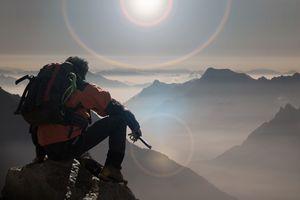 Climber watching a mountain ridge