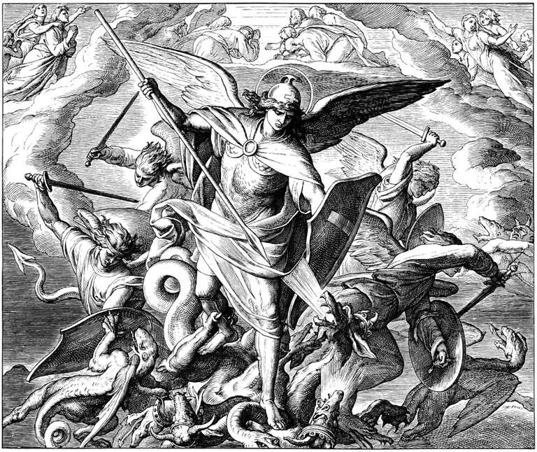 Michael and Angels Fighting Dragon