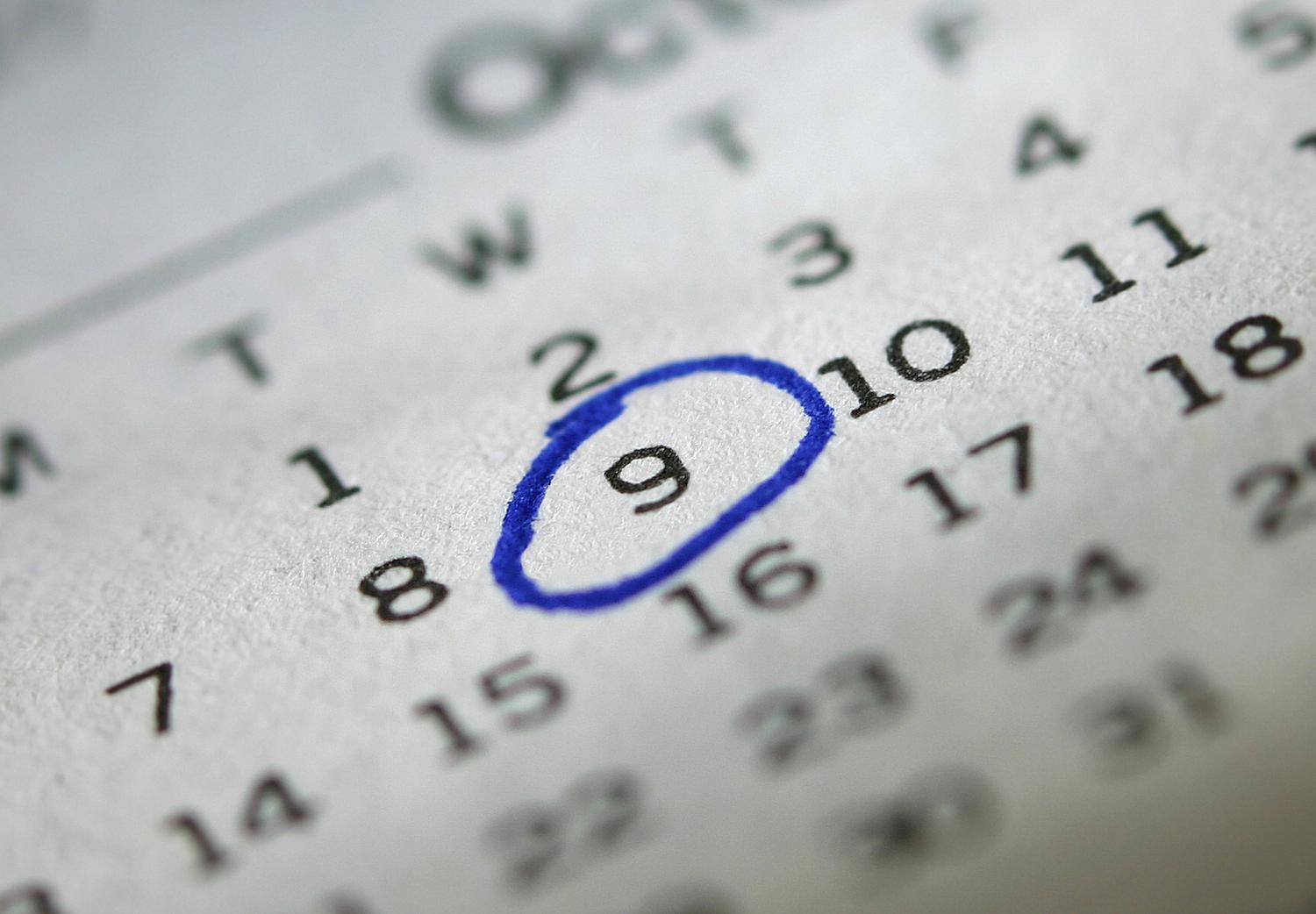 Wednesday the ninth of October on a calendar