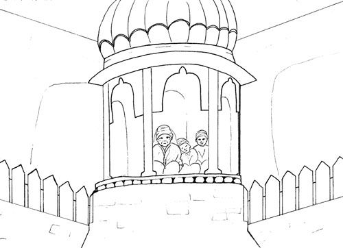 Mata Gujri and Chote Sahibzade in Tanda Burj the Cold Tower