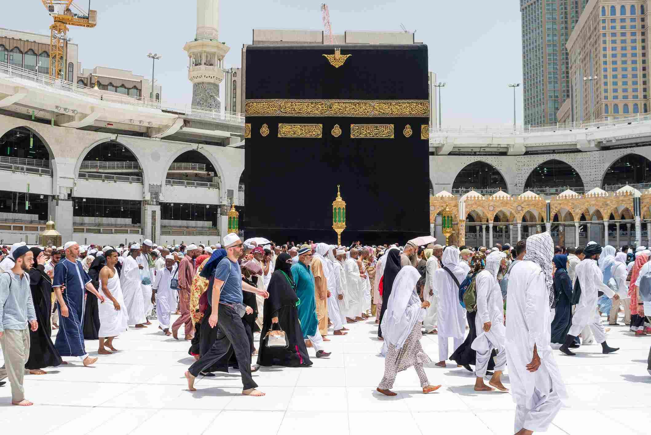 Pilgrims making Tawaf around Holy Kaaba in Mecca