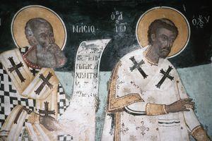 fresco of Saints Athanasius and John Chrysostom
