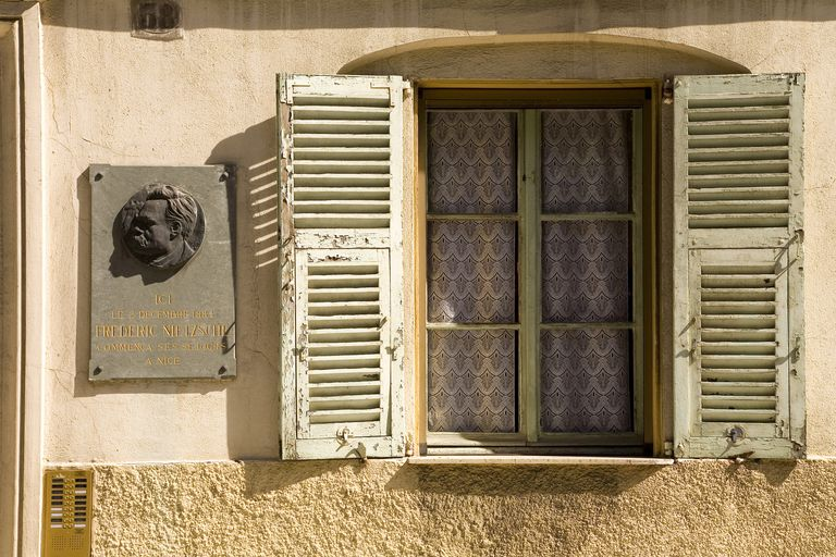 Window with shutters on the house of Rue Catherine Ségurane 38, first quarter of Friedrich Nietzsche, Nice, Provence-Alpes-Cote d'Azur, France, Europe