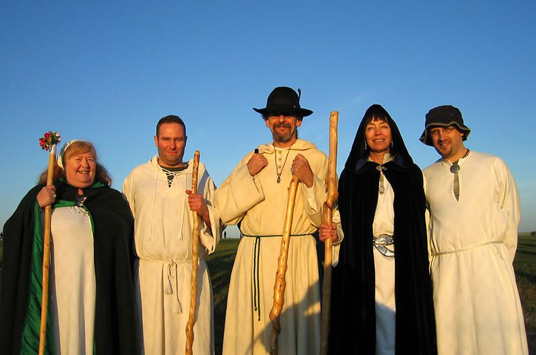 Modern neopagans in the early morning sunlight.