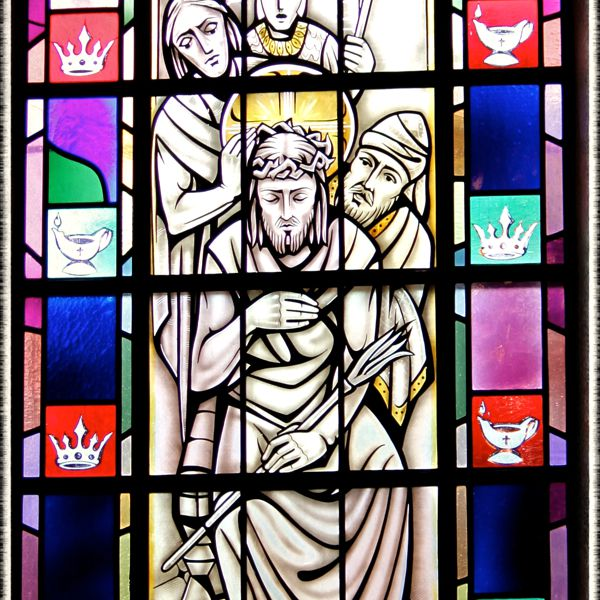 Stained-glass of the Crowning With Thorns, St. Mary's Church, Painesville, OH. (© Scott P. Richert)
