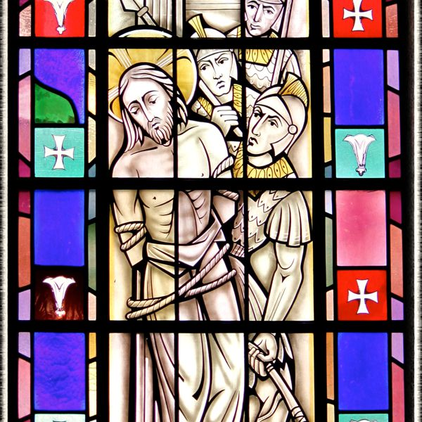 Stained-glass of Scourging at the Pillar, St. Mary's Church, Painesville, OH. (© Scott P. Richert)