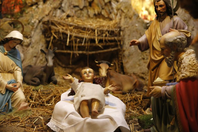A nativity scene made with figurines