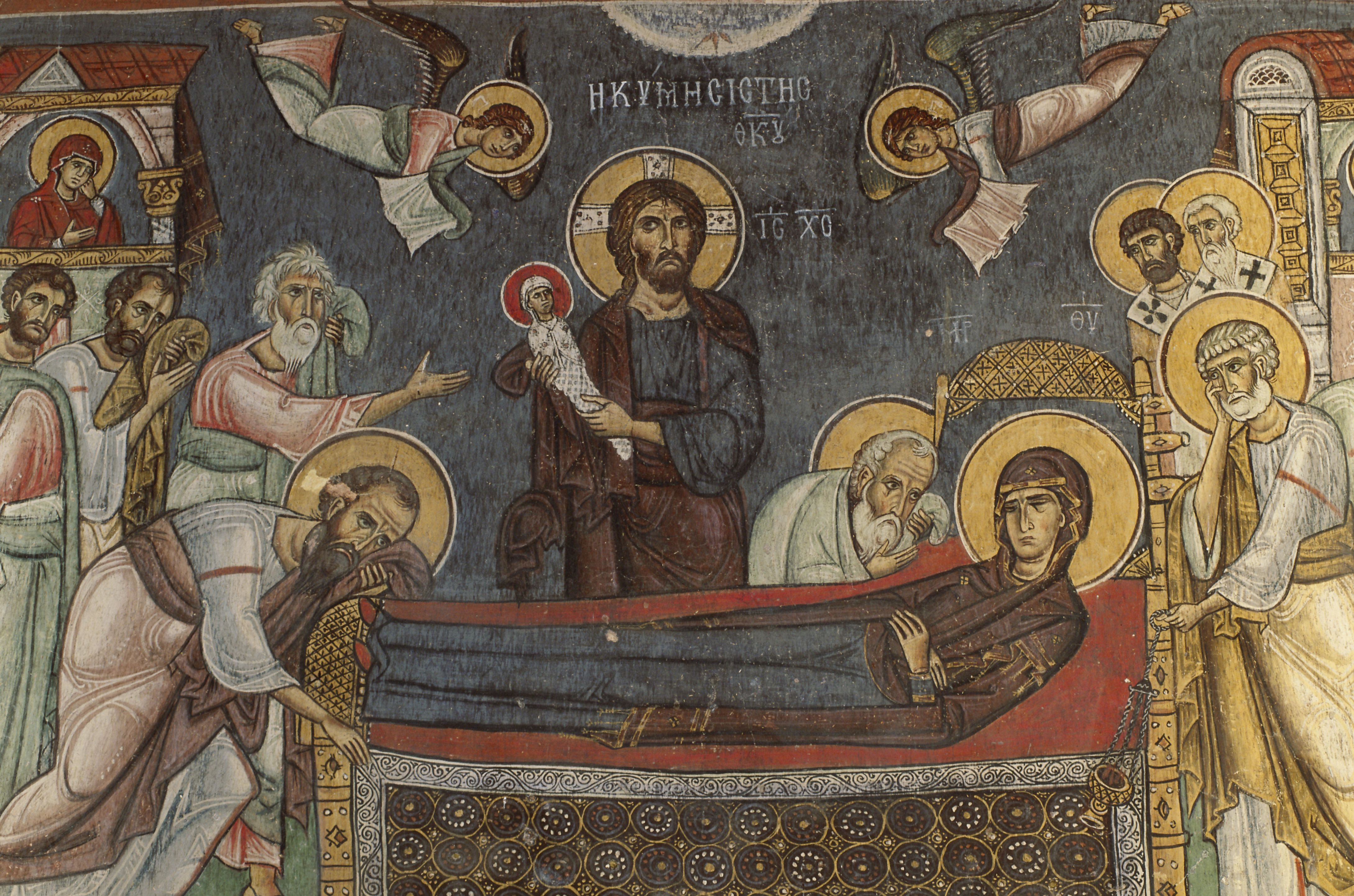 Byzantine Painting of the Death of the Virgin from Asinou Church