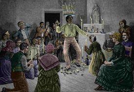 Man Performing Voodoo Dance in New Orleans, Louisiana