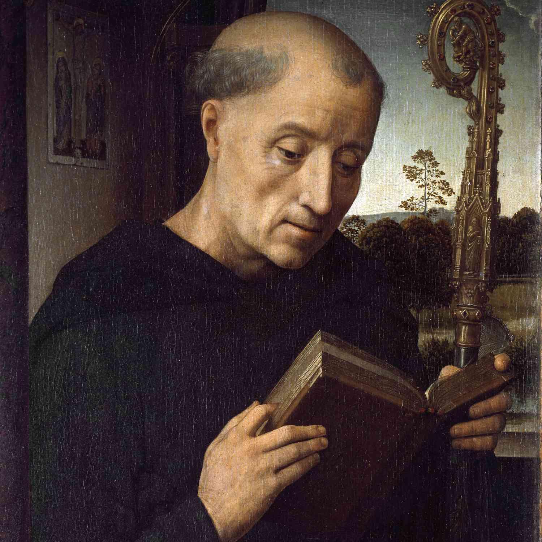 St. Benedict of Nursia reading his Rule