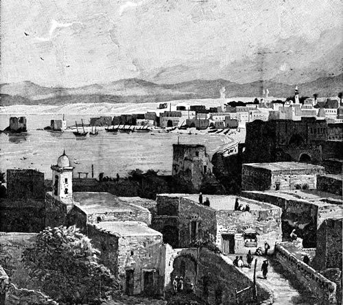 Tyre, Lebanon: Illustration of the Artificial Isthmus of Tyre, Lebanon, c. 1911