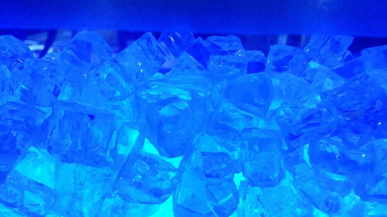 Full Frame Shot Of Blue Ice Cubes