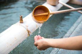 Ritual hand washing at a Japanese temple