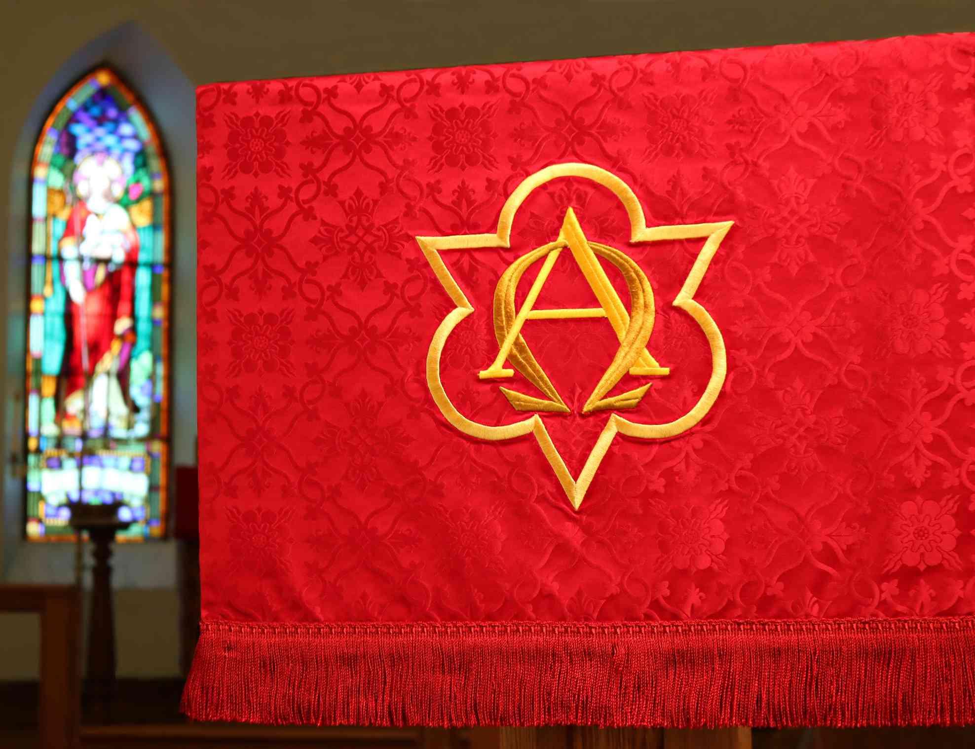 Alpha and Omega church banner