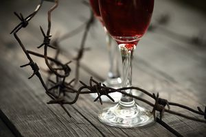 Rusty barbed wire and glasses with red wine.