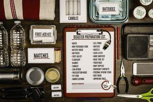 Disaster preparation kit flat lay. Items needed for disaster preparedness
