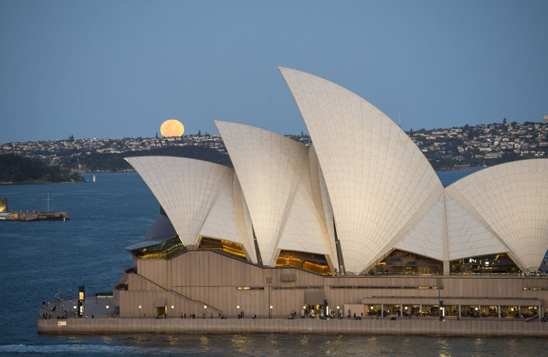 Supermoon Rises Above Sydney, Australia