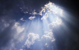 Sun rays breaking through cloud