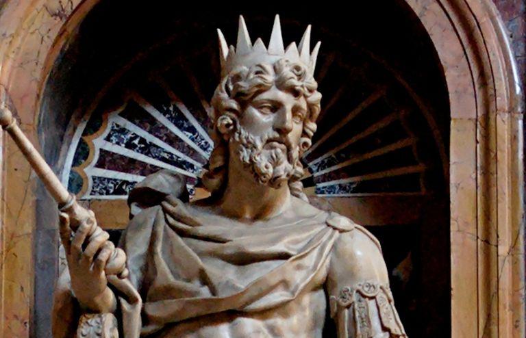 Statue of King David by Nicolas Cordier in the Borghese Chapel of the Basilica di Santa Maria Maggiore