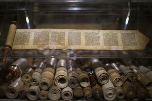 Ancient Bible manuscripts displayed at the