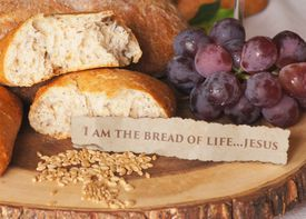 I Am the Bread of Life quote by Jesus with bread and grapes