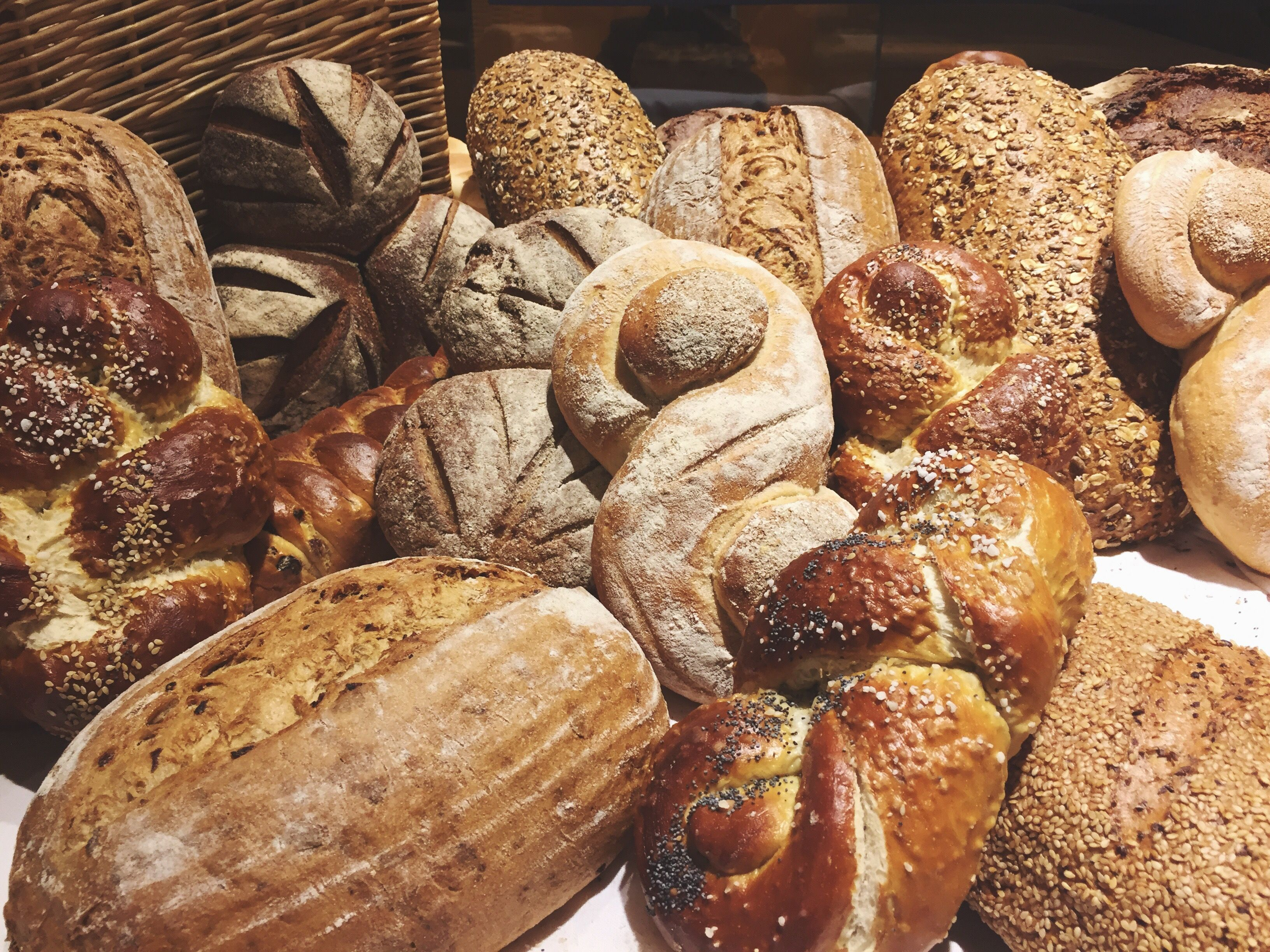 Close-Up Of Various Breads In Bakery