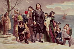 The Landing of the Pilgrims at Plymouth, Massachusetts painting