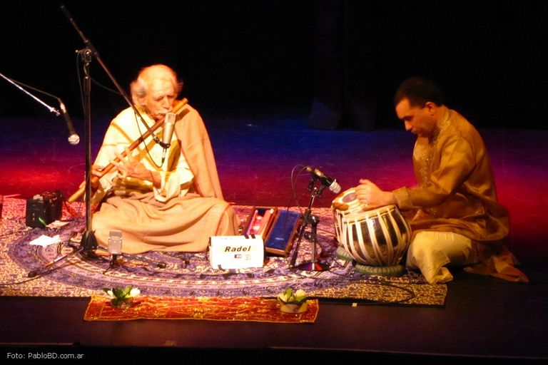 Classic Indian music being performed onstage.