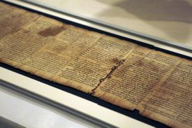 Israel Museum in Jerusalem displays part of the Isaiah Scroll, one of the Dead Sea Scrolls